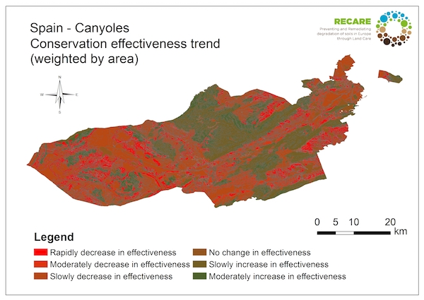Spain Canyoles conservation effectiveness trendS