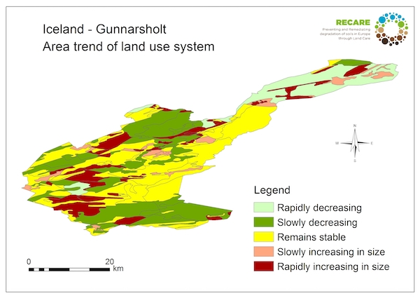 Iceland Gunnarsholt area trend land use systemS