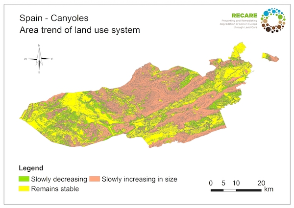 Spain Canyoles area trend land use systemS